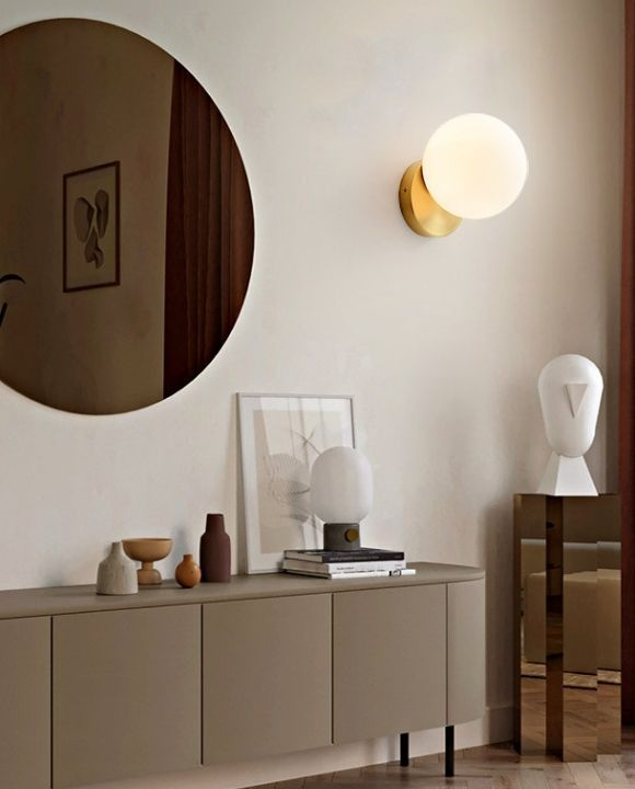 Kufra Gold and White Ball Wall Lamp | Urban Series