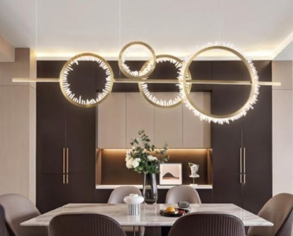 Cyntia Gold Rings LED Pendant Light | Luxury Series