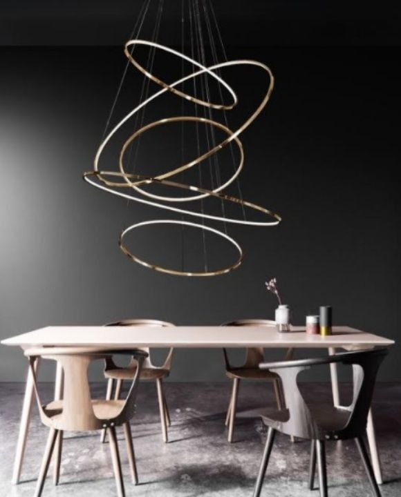 Louis Gold Rings LED Pendant Light | Void Series