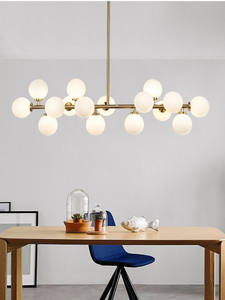 Gold Round-shaped LED Pendant Light | Dining Hall