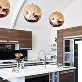 Sphere Rose Gold Pendant Lamp | Chrome Design