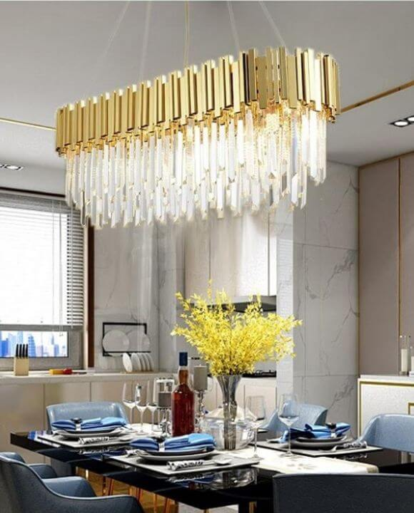 Luxury Gold Rectangle Chandelier | Posh Series