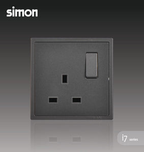 Simon i7 Series 13A Flat Pin Switched Socket Outlet - Graphite Black