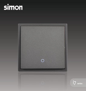 Simon i7 Series 32A 1 Gang 2 Way Double Pole Switch With Blue LED Indicator (Water Heater,Air-Cond) - Graphite Black