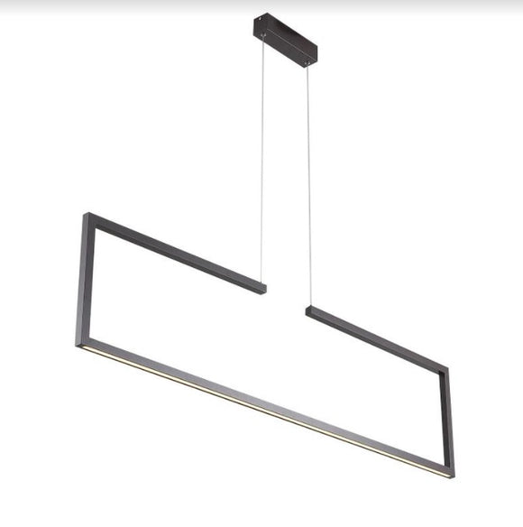 Missori Rectangular Black Urban LED Pendant Light | Kitchen Island