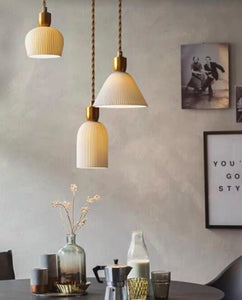 Cream and Gold Cone Pendant Lamp | Designer Series