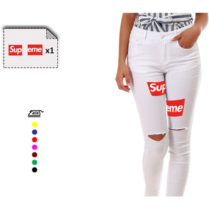 Jean femme logo SUPREME - Customisation Club