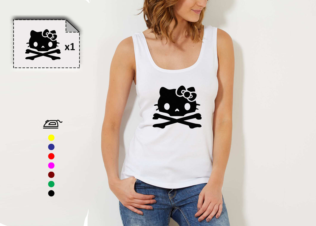 T-shirt punk HELLO KITTY tête de mort - Customisation Club