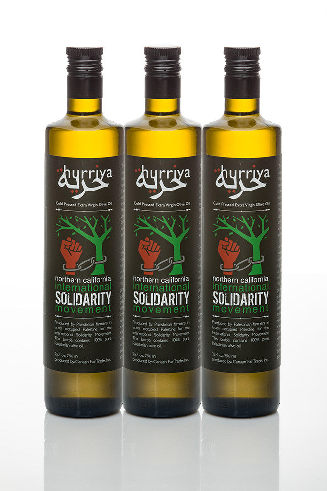 Hurriya Organic Extra Virgin Palestinian Fair Trade Olive Oil 750ml, 3 bottles