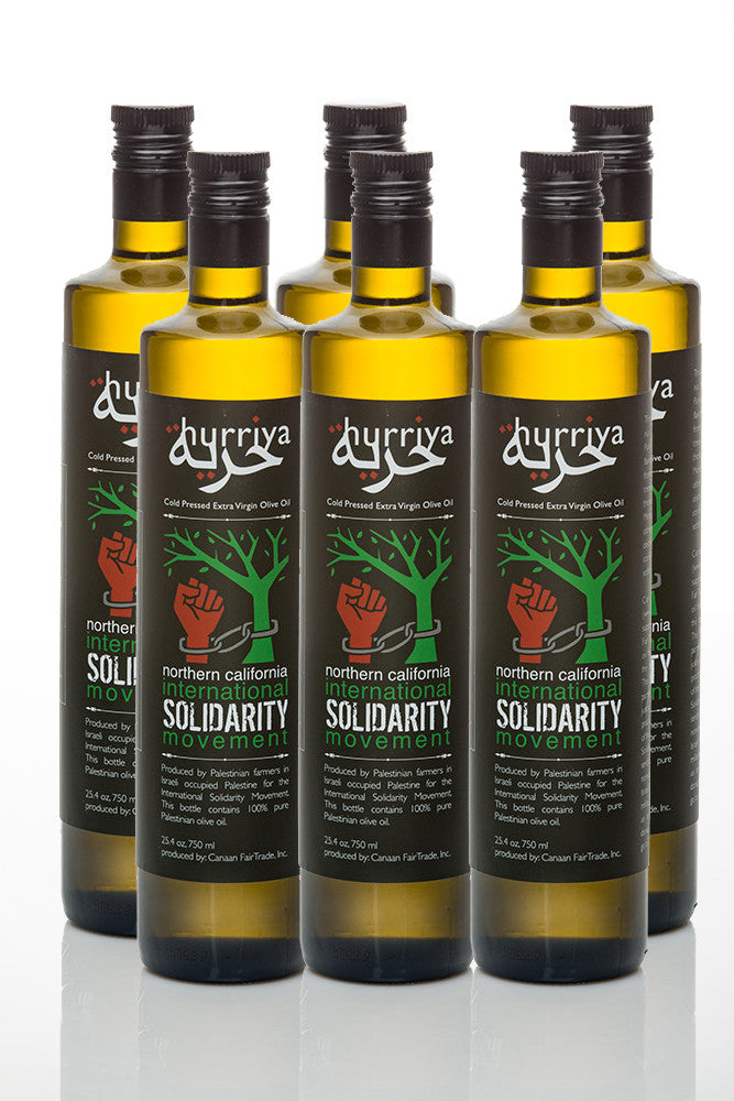 Hurriya Organic Extra Virgin Palestinian Fair Trade Olive Oil 750ml, 6 bottles