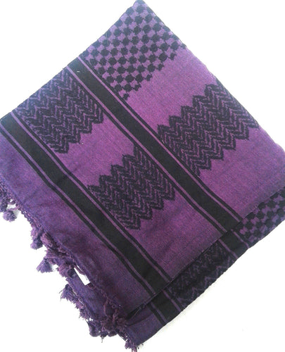 Kufiya, Made in Palestine (Black on Purple)