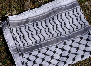 Kufiya, made in Palestine, black on white