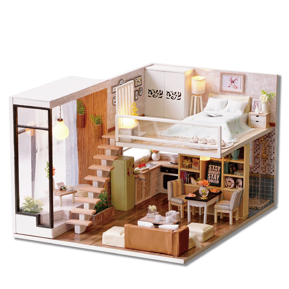 DIY Miniature Loft-Type Pink Apartment Dollhouse