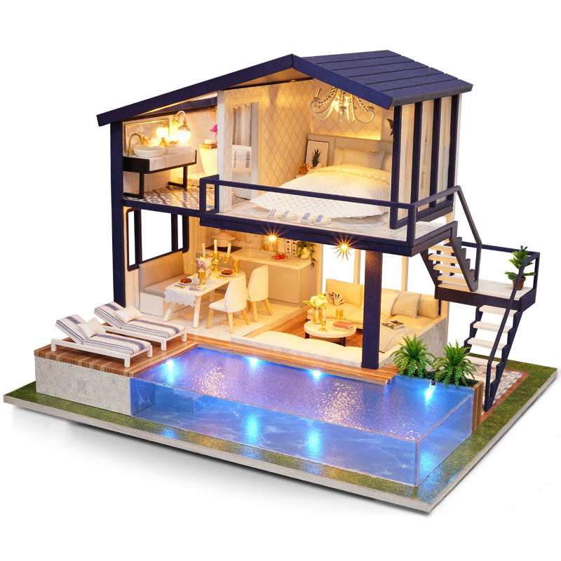 DIY Miniature House with Infinity Pool Set
