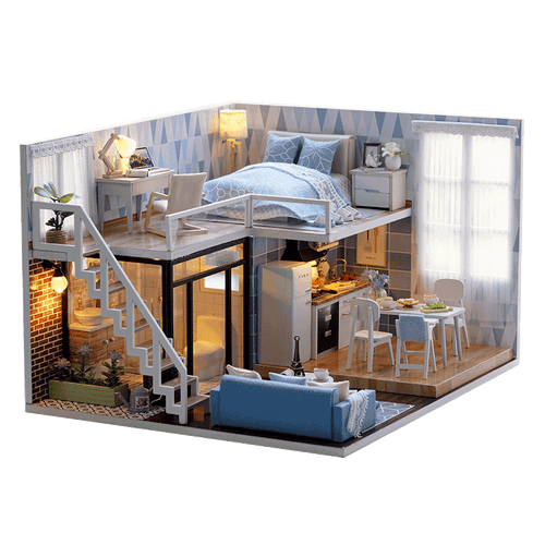 DIY Miniature Loft-Type Blue Apartment Dollhouse