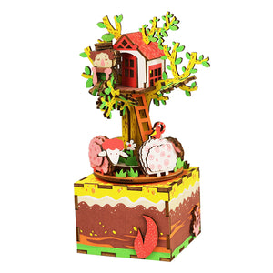 Wooden DIY Music Box Tree House