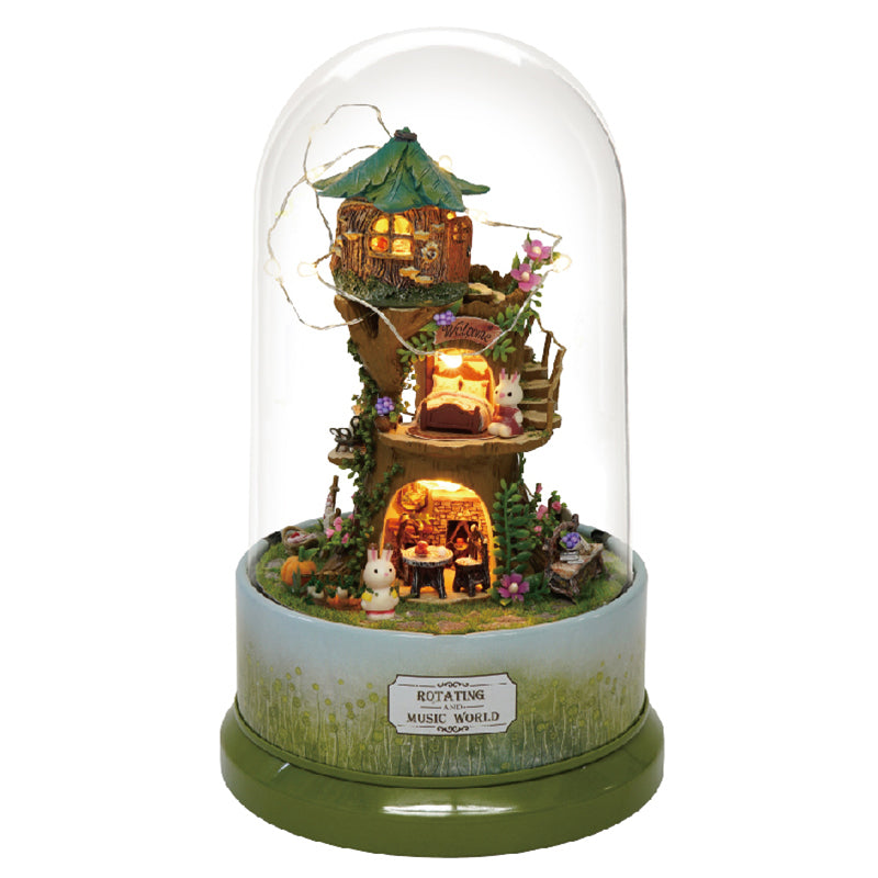 Miniature DIY Happy Tree House Rotating Music Dome
