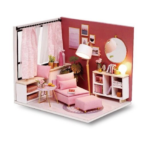 Miniature DIY Pink Reading Room