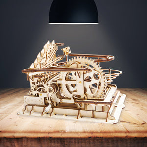 Wooden DIY Marble Run Series Waterwheel Coaster