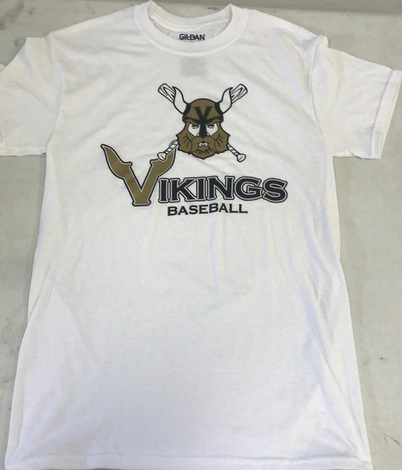 White Vikings Face Logo T-Shirt