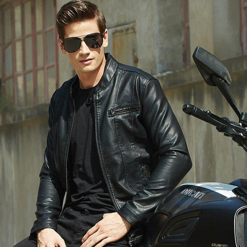 spring and autumn thin men's collar Europe and the United States solid color PU leather jacket youth motorcycle leather jacket - Chittili