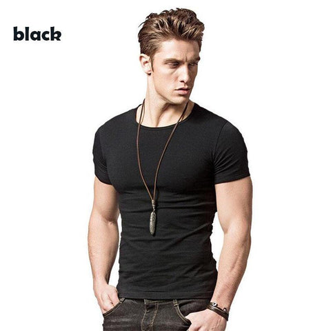Covrlge 2019 T Shirt Men Short Sleeve Solid Tshirt Mens Fashion Slim Fit T-shirts Casual O-neck TShirts Fitness Clothing Mts2911 - Chittili