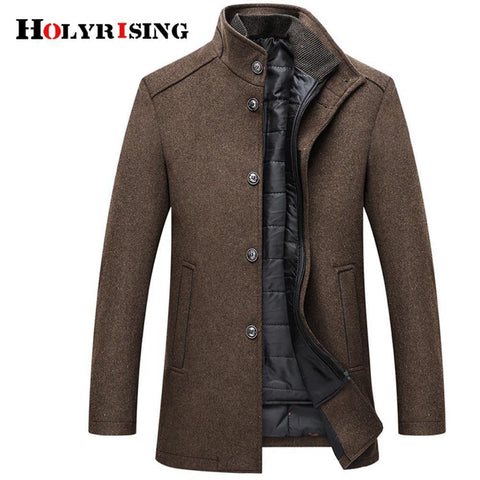 Holyrising Wool Coat Men Thick Overcoats Topcoat Mens Single Breasted Coats And Jackets With Adjustable Vest 4 Colours M-3XL - Chittili