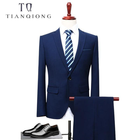 TIAN QIONG 2018 Men Business Suit Slim fit Classic Male Suits Blazers Luxury Suit Men Two Buttons 2 Pieces(Suit jacket+pants) - Chittili