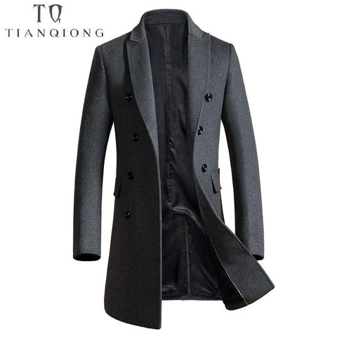 Brand Men's Cashmere Coat Men Wool&Blen Trench Male Turn Down Collar Double Breasted Woolen Outerwear 2018 New Autumn Winter - Chittili