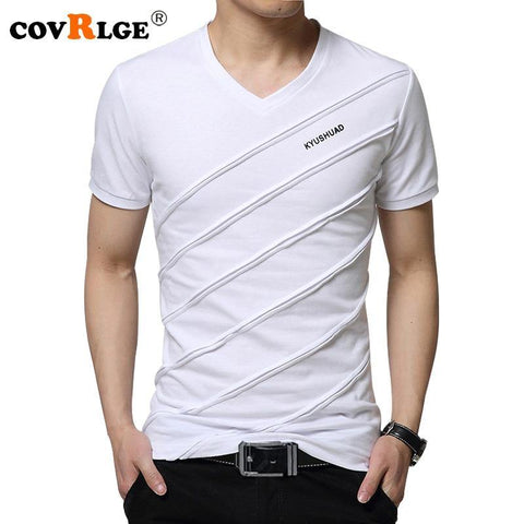 Covrlge 2018 Summer Men Short Sleeve T-shirt Men's V-neck Plus Size 3XL 4XL 5XL Tee Shirt Fitness Slim Fit Camiseta Tops MTS410 - Chittili