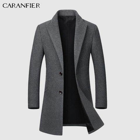 CARANFIER Winter Wool Jacket Plus Velvet Men High Quality Middle-aged Outwear Casual Slim Collar Long Cotton Collar Trench Coat - Chittili