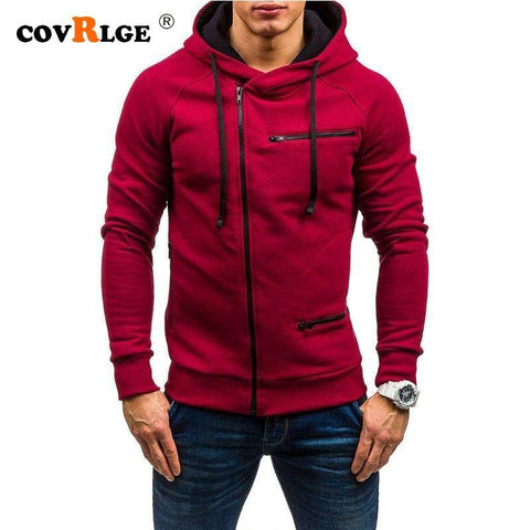 Covrlge Fashion Brand Men's Hoodies 2019 Spring Autumn Male Casual Hoodies Sweatshirts Men's Zipper Solid Color Hoodies MWW204 - Chittili