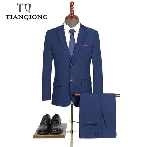 New Men 's Suit Two -piece Black Navy Suits Men 2019 Brand Slim Fit Groom Wedding Suit Korean Jacket Pants Trousers - Chittili