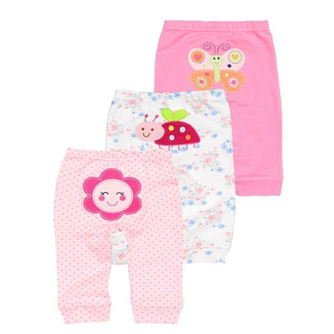 New 3pcs/lot baby clothes harem toddler Pants baby girl trousers Mid Waist 0-2 years cotton Newborn Unisex  Baby Leggings freeshipping - Chittili