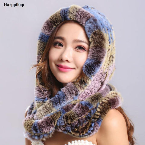 Thick autumn winter warm real rabbit fur scarf and hat Women with a hood rex rabbit fur scarf fur hat pashimina freeshipping - Chittili
