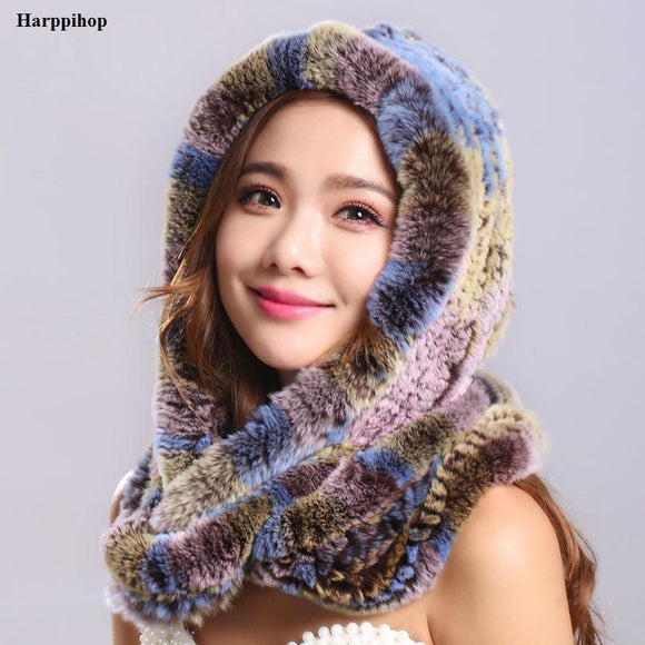 Thick autumn winter warm real rabbit fur scarf and hat Women with a hood rex rabbit fur scarf fur hat pashimina
