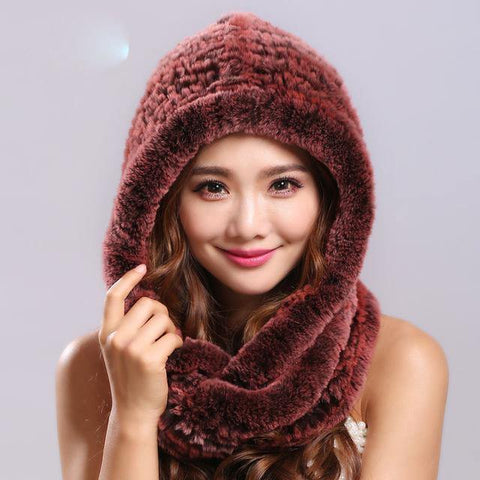 Thick autumn winter warm real rabbit fur scarf and hat Women with a hood rex rabbit fur scarf fur hat pashimina - Chittili