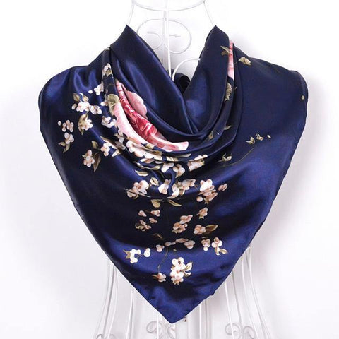New Female Elegant Large Silk Scarf - Chittili