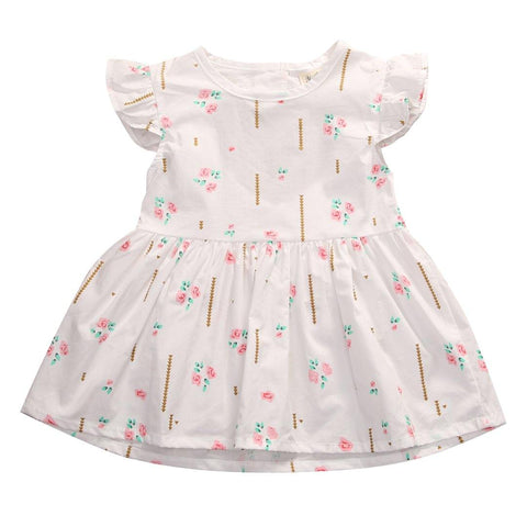 Party Floral Cute Princess Flower Pattern Print Mini Dress 0-24M Toddler Infantil Kids Baby Girl - Chittili