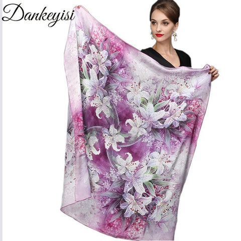 DANKEYISI 110*110cm 100% Silk Big Square Silk Scarves Fashion Floral Printed Shawl Sale Women Genuine Natural Silk Scarf Shawl - Chittili