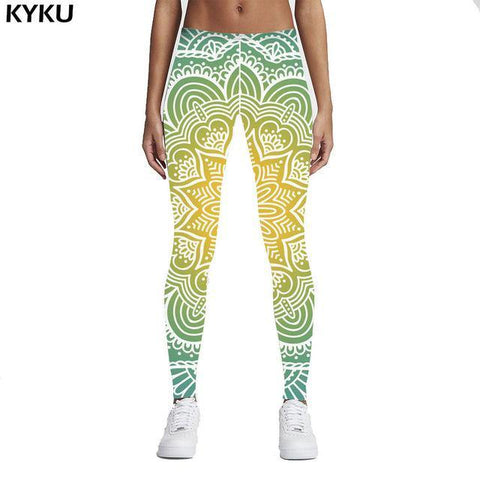 New Fashion Women Legins Mandala Lights 3D Printing Sexy Legging High Waist Woman Leggings Green Fitness Pants freeshipping - Chittili