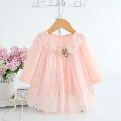 Cute Baby Embroidery Cotton Dress with Toy Bear - Chittili