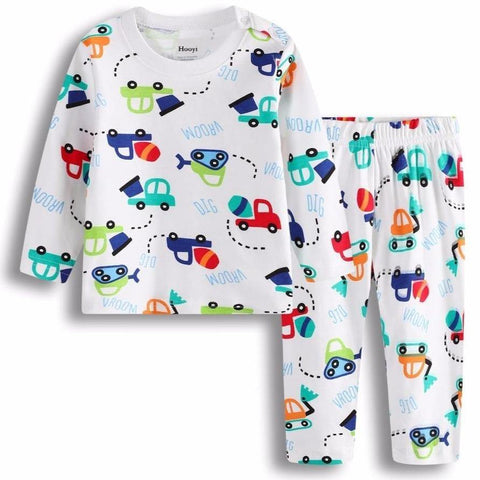 Cotton Pajamas Sleepwear Dig Vehicle Kids Sleep Sets Long Nightgown Soft PJ'S - Chittili