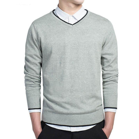 Varsanol Brand Cotton Sweater Pullover Men V-neck Casual Long Sleeve Sweaters Fit Knitting Solid Clothing New Autumn M-3XL - Chittili
