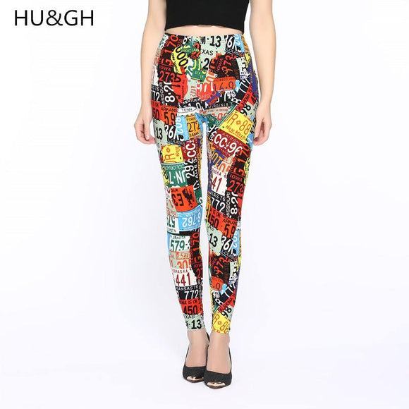 HU&GH Brands New 2017 Women Fashion Legging letter printing Printing leggins Slim High Waist Leggings Woman Pants - Chittili