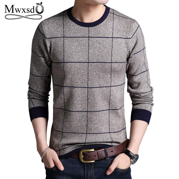 Mwxsd Brand Men's Autumn Winter Striped Plaid pullover Sweaters Patchwork Knitted sweater for Men O-neck Casual male Sweater