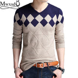 Mwxsd brand Men casual argyle plaid pullover sweater autumn mens slim fit jumpers hombre male cotton sweater pull homme 4xl freeshipping - Chittili
