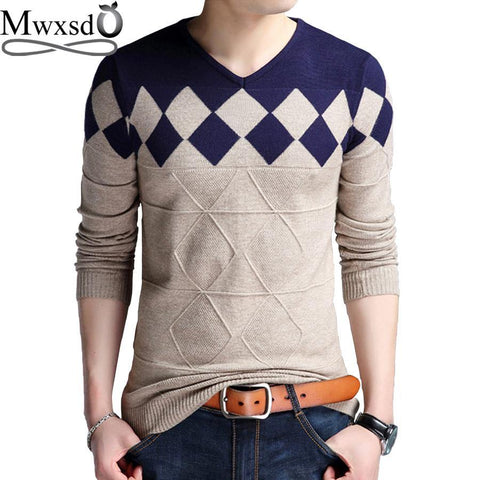 Mwxsd brand Men casual argyle plaid pullover sweater autumn mens slim fit jumpers hombre male cotton sweater pull homme 4xl - Chittili