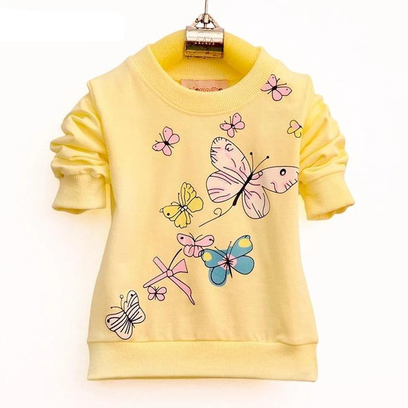 Baby Girls T-shirt Beautiful Butterfly Long Sleeve Band Sport T Shirts for Girls Cotton Children Clothing - Chittili
