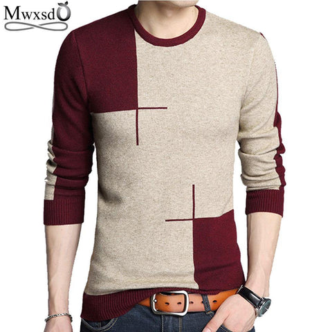 Mwxsd brand Men casual pullover sweater autumn winter cotton Cashmere sweater pull homme male jumpers knitted sweaters - Chittili